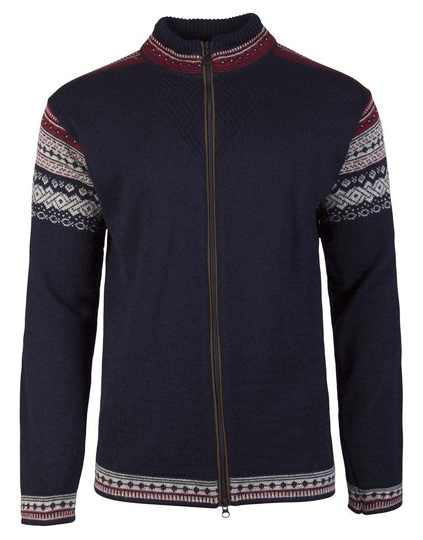 Bergen Masculine Cardigan - Navy / Light Charcoal / Red Rose