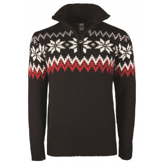 Myking Masculine Sweater - Black / Raspberry / Off White