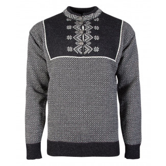 Valdres Unisex Sweater - Dark Charcoal / Off White